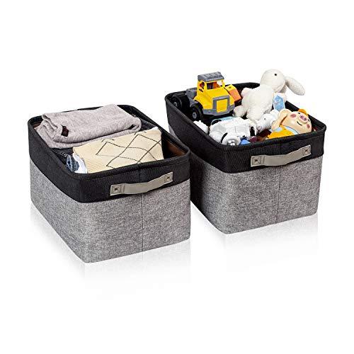 BrilliantJo 2er Set Aufbewahrungsbox, groß Ordnungsbox mit Leder Griff Faltbarer Stoffbox, dickwandiger Aufbewahrung Kisten für Kleidung, Spielzeug (Waschbar, 40 * 30 * 25cm, Grau+Schwarz)