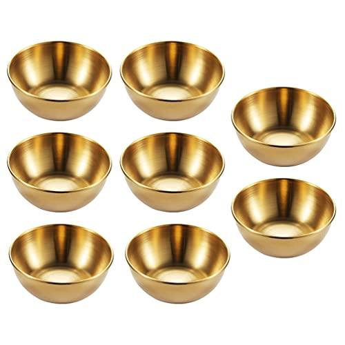 Hemoton 8 Sztuk Ze Stali Nierdzewnej Sos Denis Żywności Zanurzenie Miski Okrągły Przyprawy Przyprawy Spodek Przekąska Płyty (Złoty)