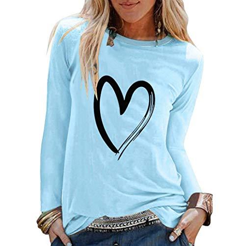 Damen Lässige Rundhals Lose Oberteil Oversize Langarmshirt Liebe Druck Sweatshirt Slim Langarm Basic T-Shirt Bluse Tops Große Größe TWBB Sale