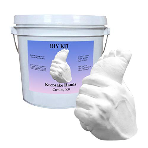 Souvenir! 3D Abformset mit Zubehör   Handabdruck, Gipsabdruck   Geschenkidee zum Valentinstag Hausparty   Andenken Hand Casting Kit Large   DIY Gips Statue Moulding Kit Hand halten (A)
