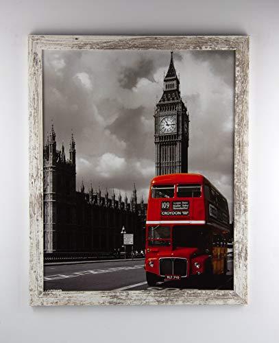 myposterframe Kallisto Bilderrahmen Holz Werkstoff modern 50 x 65 cm Größenwahl 65 x 50 cm Hier: Weiß Vintage mit Acrylglas klar 1 mm