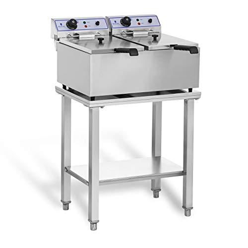 Royal Catering RCEF-SET2 Set Friggitrice Professionale Friggitrice Elettrica Doppia con Ripiano Inox (2 x 17 L, 2 x 3.000 W, Dimensioni ripiano 62 x 42 cm) Acciaio Inox