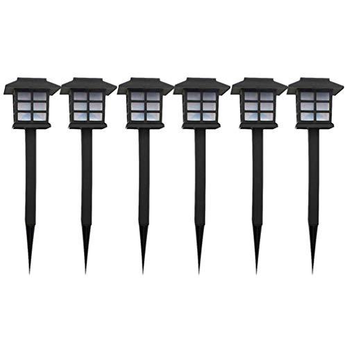 FRCOLOR 6Pcs LED Luzes Solares de Jardim Caminho Em Forma de Casa í Prova D 'ígua Luzes Coloridas Spot Iluminaçío de Paisagem para Pí¡tio Gramado Pí¡tio Calçada (Preto)