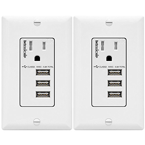 TOPGREENER 5.8A Ultra High Speed 3-Port USB Charger Outlet, 15A Tamper-Resistant Receptacle, Compatible with iPhone 11/11 Pro/X/XR, Samsung S10/Note9/S9 & more, TU11558A3-2PCS, White 2-Pack