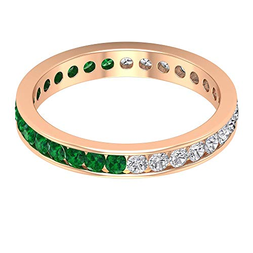 Rosec Jewels 10 quilates oro rosa redonda round-brilliant-shape H-I Green Diamond Zafiro azul Leb creado