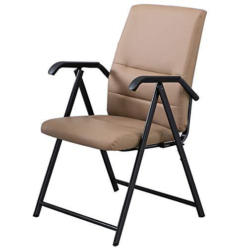 TYX-SS Klappbarer Schreibtischstuhl Aus Leder, Ergonomischer PU-Freizeitsessel Mit Rückenlehne, Keine Räder,Khaki