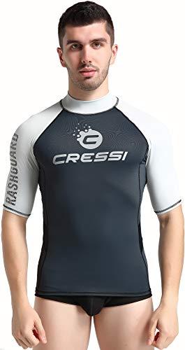 Cressi Unisex– Erwachsene Hydro Men'S Premium S.Sleeves Rash Guard Kurze Ärmel aus elastischem Stoff Mann UV-Schutz (UPF) 50+, Schwarz/Silber, XXL