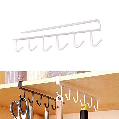 JUZEN 3 stücke Küche Lagerregal Schrank 6 Haken Unterschrank Kleiderbügel Rack Neue Schrank Badezimmer Schlafzimmer Schrank Regal Kleiderbügel,White