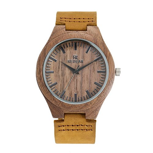 Orologio analogico al quarzo in legno, da uomo leggero a mano Legno orologio da polso con cinturino in pelle