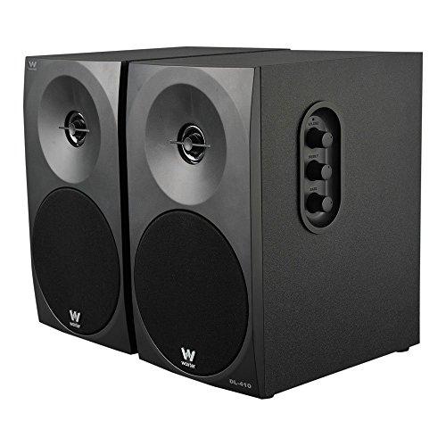 Woxter Dynamic Line 410 – Altavoces estéreo 2.0 Autoamplificados con 150W de potencia, Madera, Woofer de 4 pulgadas, 2 Tweeter, 3.5 mm, RCA, Control volumen, agudos, graves, Bookself Speakers, Negro