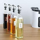 Panamami Juego de Botellas de Aceite de Oliva de Vidrio de 17 oz 500 ml de Aceite y vinagre con vinagreras y Jarra de Jarra de Embudo para Cocina - Transparente