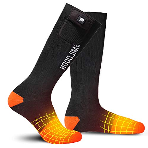 Smilodon Heated Socks 2-Pairs Pack, 1 Pair Rechargeable Battery, Electric Heating Sock Men Women for Winter Ski Motorcycle Riding Snowboarding Hiking Ice Fishing Hunting (Orange 2-Pairs, Small)