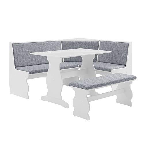 Linon Natasha Patio Conversation Kitchen Breakfast Table Booth Bench Corner Dining Set Denim Nook in White