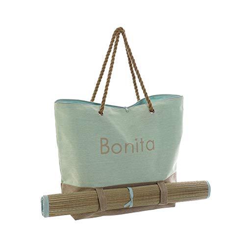 Hogar y Mas Bolso Mujer con Esterilla de Lienzo y Algodón, Bolsa de almacenaje de Gran Capacidad 60x16x39 cm - Azul