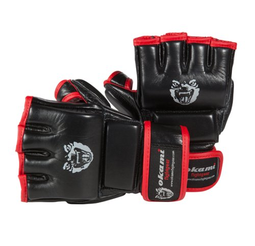 OKAMI Fightgear MMA Hi Pro Training Gloves, schwarz rot, XL, 12-0003