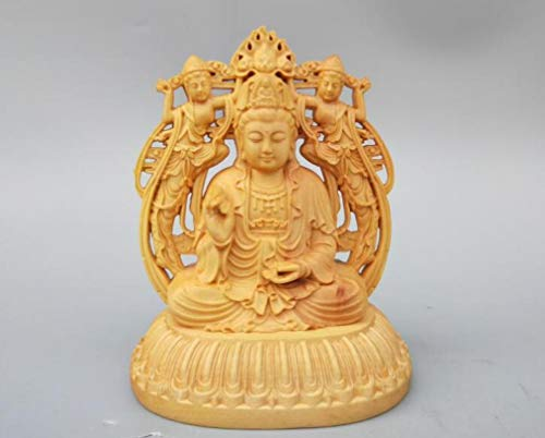 DOGOGO Chinees hout Boeddha standbeeld snijwerk dubbelzijdig Guanyin Bodhisattva Betekenis Auspicious