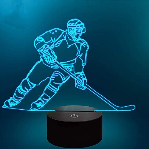 Jugador de hockey 3D luces ilusión niños luz nocturna 16 colores cambio automático escritorio decoración lámparas regalo cumpleaños con control remoto