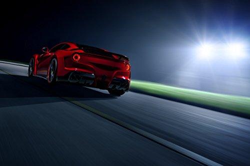 "Novitec N-Largo based on Ferrari F12berlinetta (2013) Car Art Poster Print on 10 mil Archival Satin Paper Red Rear Side Night Static View 16""x12"""