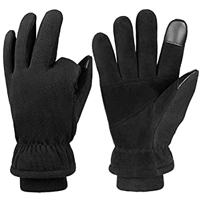 Thermal Gloves Winter Deerskin Touch Screen Insulated Leather Glove Thermal Fleece for Walking Dog/Cycling/Driving/Motorcycle/Work in Cold Weather for Women and Men (Black,XL)