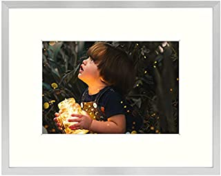 Golden State Art, Brushed Texture Aluminum Picture Frame – Ivory Mat –..