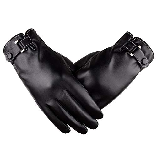 Men's touchscreen Texting Soft Leather Gloves Winter Warm Driving Cashmere...