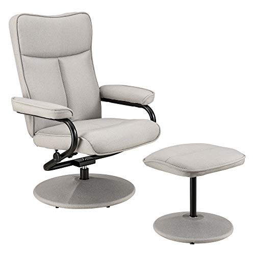 [en.casa] Relaxsessel mit Hocker Fernsehsessel inkl. Liegefunktion TV Sessel Stoffbezug beige