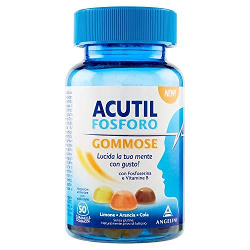Acutil Fosforo Gommose, Integratore Multivitaminico Alimentare con Fosfoserina e Vitamina B6. Gusto Limone, Arancia, Cola, 50 C