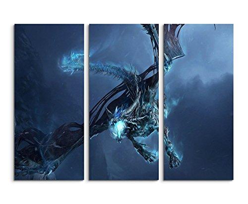 Paul Sinus Art Keilrahmenbild auf Leinwand 3 teilig World of Warcraft Ice Dragon 3x90x40cm (Gesamt 120x90cm) Ausführung schöner Kunstdruck auf echter Leinwand als Wandbild auf Keilrahmen