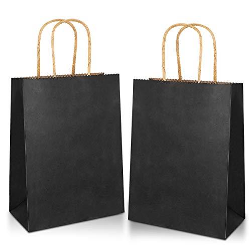Gaoyong 30 Stück Geschenktüten 21*15*8CM,Papiertüten mit Henkel,Papiertüten,Schwarze Papiertüten,Kraftpapier tüten (verdicken 130gsm)