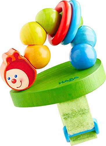 HABA 305106 - Buggy-Spielfigur Raupe, Kinderwagen-Spielzeug aus Holz mit Klappereffekt, flexible Befestigung per Klettverschluss, Babyspielzeug ab 12 Monaten