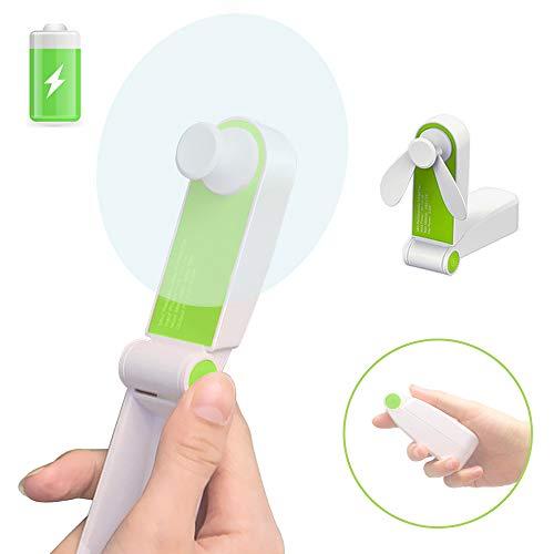 Personal Handheld Fan, Mini Portable Pocket Fan, Hand Held Desk Fan USB Rechargeable Electric Fans for Girl Woman Man Outdoor Travel, 2 Speed Adjustable (Green)