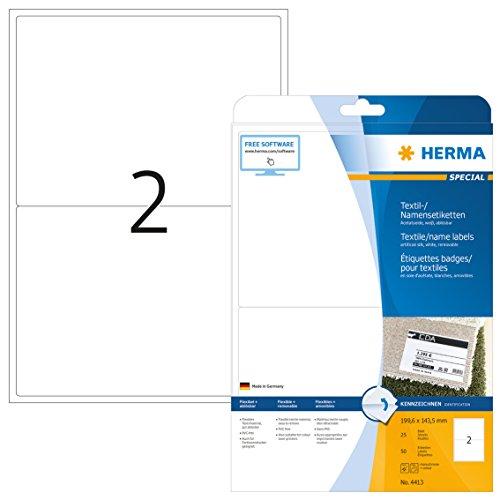 HERMA 4413 Namensetiketten DIN A4 ablösbar (199,6 x 143,5 mm, 25 Blatt, Acetatseide) selbstklebend, bedruckbar, rückstandsfrei abziehbare Namensaufkleber, 50 Klebeetiketten, weiß