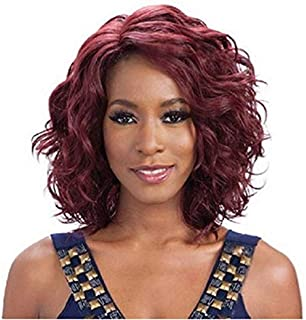 Asdfnfa Wine Red Lace Wigs for Women Bob Wig with Deep Side Parting Heat Resistant