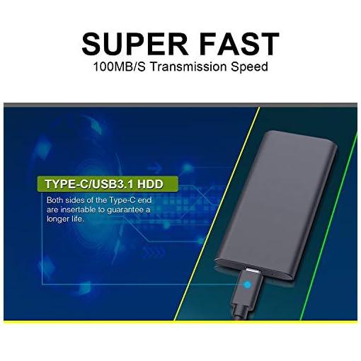 Disco Duro Externo 2tb Type C USB 3.1 Disco Duro Externo para Mac, PC, MacBook, Chromebook, Xbox (2tb, Gris) 3