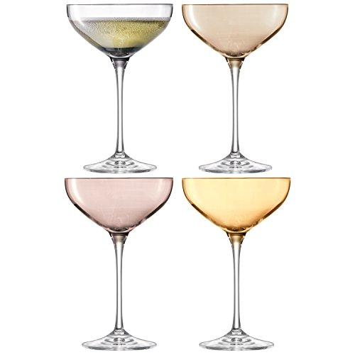 LSA International 390 ML métallique à Champagne Soucoupe, Couleurs Assorties (Lot de 4)