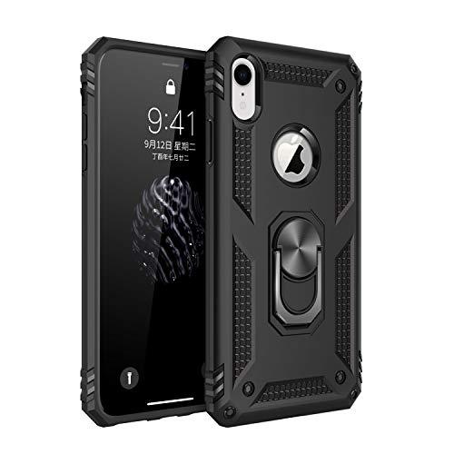Pacyer Custodia compatible con iPhone XR con Anello di Aggancio Dito Supporto Magnetico Duty Armor Silicone Cover Shockproof AntiGraffio Case per Apple iPhone XR (Nero)