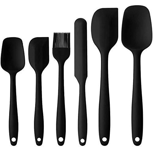 BEYAOBN 6pcs Espátulas Silicona,Protección del Medio Ambiente, Antiadherente, Resistente al Calor, Utensilios de Cocina para cocinar, Hornear y Mezclar(Negro)