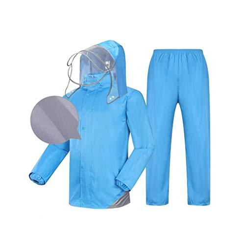 Kann wiederverwendet Werden Regen- und Winddichte Allzweckjacken for Herren und Damen, leichte Jacken und Kapuzenjacken, Outdoor-Arbeiten Camping Angeln Bergsteigeranzüge (Color : Blue, Size : XXL)