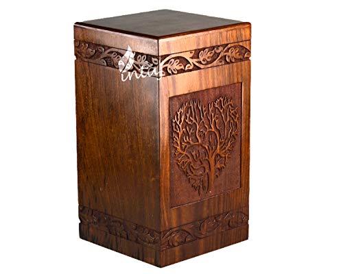 INTAJ Handgefertigte Palisander-Urne für menschliche Asche, Baum des Lebens, Holzurnen, handgefertigt – Beerdigungsurne für Asche Adult 250 Cu/In Heart Tree
