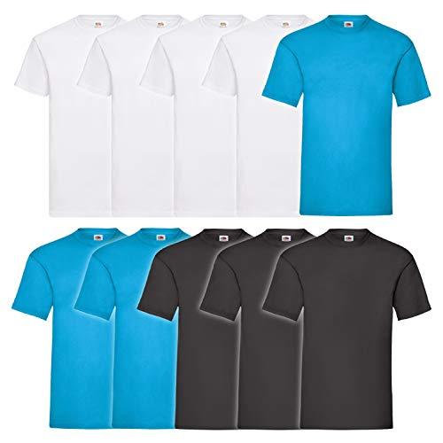 10 Fruit of the loom T Shirts Valueweight T Rundhals S M L XL XXL 3XL 4XL 5XL Übergröße Diverse Farbsets auswählbar (XL, 4 Weiß / 3 Azurblau / 3 Schwarz)