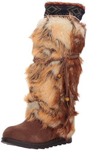 MUK LUKS Women's Leela Boots Fashion, Dark Brown, 9 W US