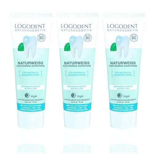 LOGODENT Zahncreme Naturweiss Pfefferminz (3 X 75 Ml), Natürliches Weiß Ohne Chemische Bleichmittel, Bio Zahnpasta, Vegan, Fluoridfrei, Naturkosmetik