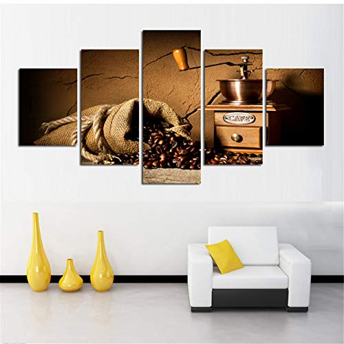 Jfzo Leinwand Malerei Wandkunst Wohnkultur Rahmen 5 Stücke Kaffeebohnen Für Wohnzimmer Moderne HD Drucken Kaffeemaschine Landschaft Bild-40in