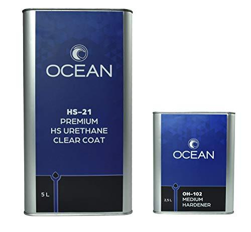 Ocean HS-21 Premium HS Urethane Clearcoat 5L w/ 2.5L Medium Hardener - 2:1 Mixing Ratio