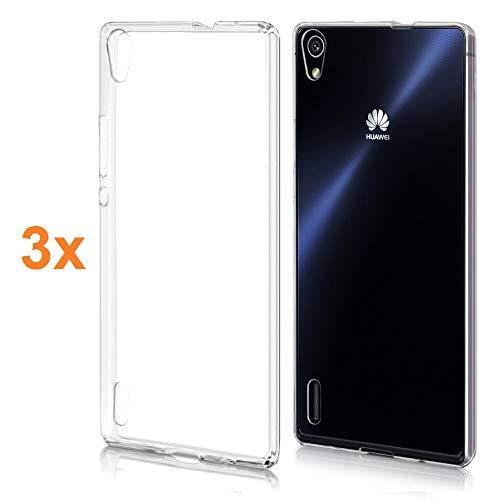 REY 3X Funda Carcasa Gel Transparente para Huawei P7, Ultra Fina 0,33mm, Silicona TPU de Alta Resistencia y Flexibilidad