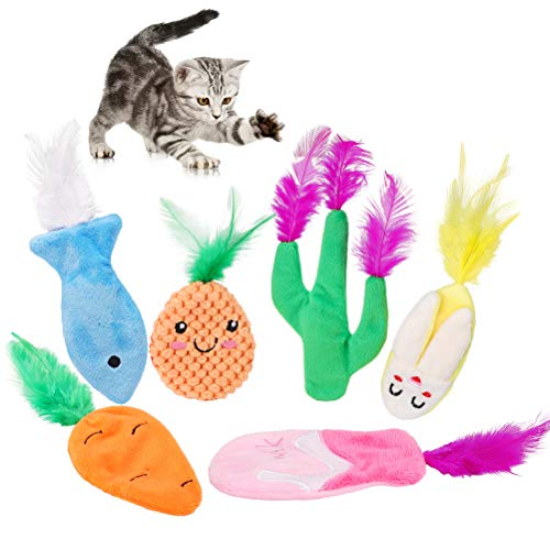 PAWCHIE Catnip Toy for Indoor Cats - 6 Pack Soft Plush Toys with Filled Natural Catnip for Kitty Cats Chewing and Playing