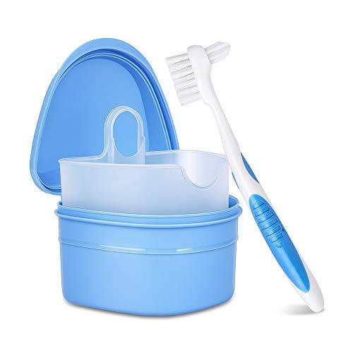 Y-Kelin juego de limpieza de dentadura caja de dentadura + cepillo de dentadura + pastillas de dentadura (Azul)