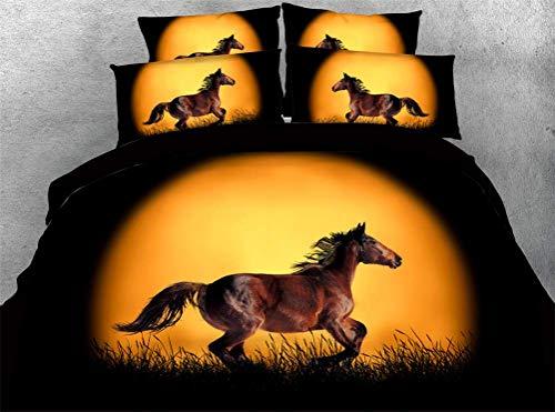 332 Unicorn Urban Single Duvet Cover and Pillowcase Set, Multi-Colour, Horse Design, O, 230x260cm