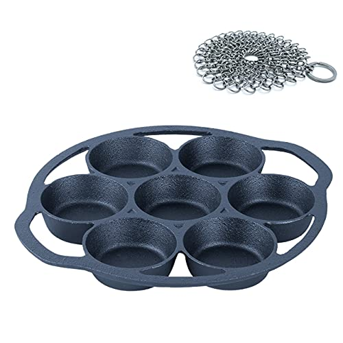 SIMLAY CO. Cast Iron Baking Pan | Pre-Seasoned | 7 Part | Bake Muffins, Cornbread, Scones, Biscuits, Eggs | Kitchen Bakeware | Camping Cookware | Includes a Skillet Chainmail Scrubber