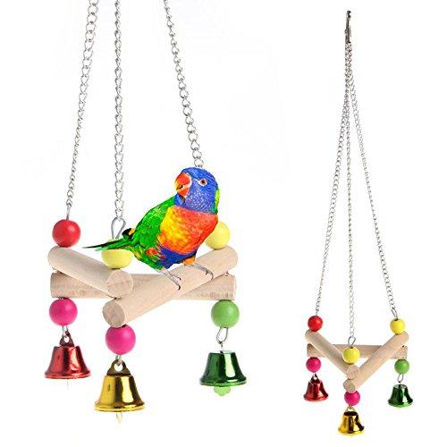 Stebcece Parrot Parakeet Budgie Cockatiel Wood Hammock Stand Swing Hanging Pet Bird Toys